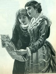 An 18th century drawing of women reading a newspaper