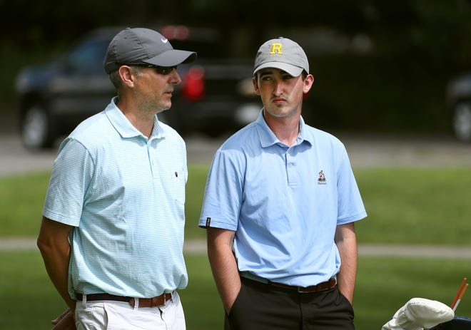 """UR golf coach Dan Wesley, left, with senior captain Jack Mulligan. Due to Covid-19, Wesley had to break news to his team that rest of its spring season was canceled in the parking lot of a golf resort in Florida. """"That was a tough one,'' he said."""