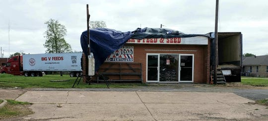 Steve's Feed and Seed store in Benton was damaged Easter Sunday by a tornado.