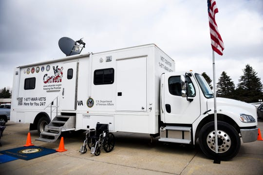 Royal C. Johnson Veterans Memorial Hospital prepares for the potential for more coronavirus cases on Tuesday, April 14, 2020 in Sioux Falls, S.D. The Vet Center mobile unit will allow patients to have blood work done without entering the hospital.
