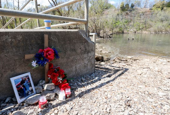 A memorial for Timmothy Richardson, who died in a kayaking accident below the Lake Springfield dam last weekend, on Tuesday, April 14, 2020.