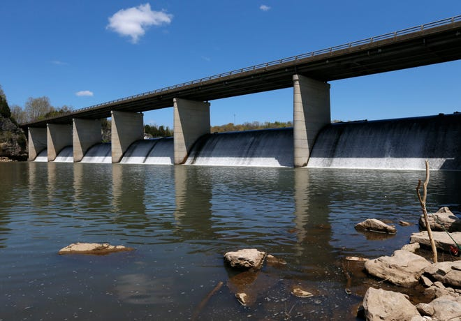 The area below the Lake Springfield dam, where Timmothy Richardson died in a kayaking accident last weekend, on Tuesday, April 14, 2020.