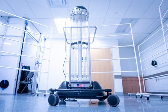 UVA Health robot Tru-D uses ultraviolet germicidal irradiation (UV) or UV light vectors to disinfect up to 6,000 N-95 masks per day.
