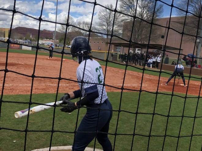 Snow Canyon junior Emma Bingham sits in the batters box during what was the final softball weekend of the 2020 season.