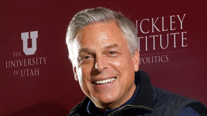 FILE - In this Dec. 5, 2019, file photo, Republican ex-Russia ambassador Jon Huntsman Jr. speaks at the Hinckley Institute of Politics, in Salt Lake City. Huntsman qualified for the Republican primary ballot on Monday, April, 13, 2020, joining Lt. Gov. Spencer Cox and ex-GOP chair Thomas Wright. (AP Photo/Rick Bowmer, File)