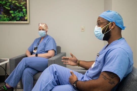 Capital Regional Medical Center Director of Respiratory Care Antwan Brooks, MBA, RRT, shares how patients who have tested positive for coronavirus are being cared for, Tuesday, April 14, 2020.