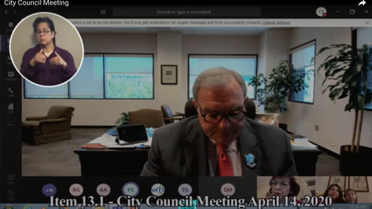El Paso Mayor Dee Margo is shown during Tuesday's digital City Council meeting. In-person meetings ended as the coronavirus pandemic spread across the world.