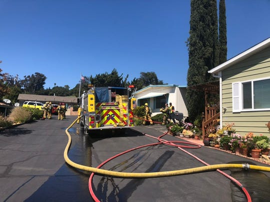Fire crews responded to a fire at a mobile home in Meiners Oaks Tuesday afternoon.