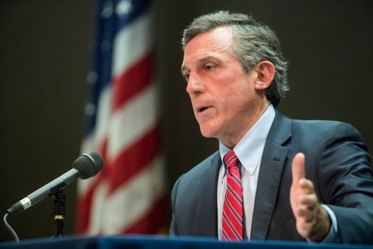 Gov. John Carney speaks to the media during a briefing on the status of the coronavirus pandemic in Delaware on Tuesday, April 14, at the Carvel State Office Building in Wilmington.