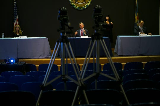 Gov. John Carney speaks to the media during a briefing on the current status of the coronavirus pandemic in Delaware Tuesday at the Carvel State Building in Wilmington.