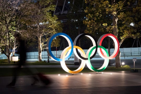 The Olympic rings are seen, in Tokyo.