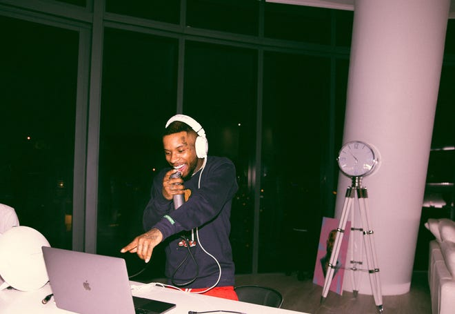 """Rapper and singer Tory Lanez broadcasts his """"Quarantine Radio"""" Instagram show from his home."""