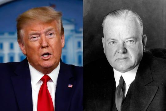 Combo photo of President Donald Trump and former President Herbert Hoover.
