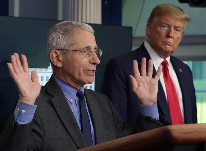 Dr. Anthony Fauci and President Donald Trump at the White House on Monday.