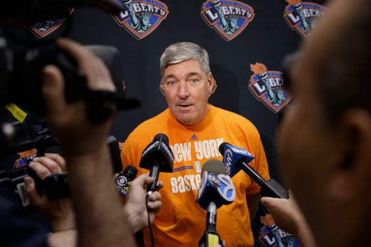 WNBA basketball head coach Bill Laimbeer talks with reporters after a practice Thursday, May 21, 2015, in Tarrytown, N.Y.