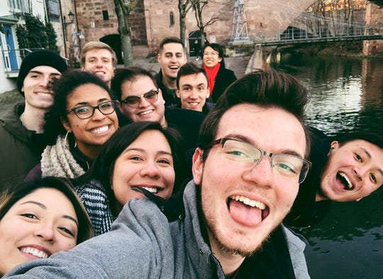 Maxwell Honzik, a University of Wisconsin-Oshkosh, is shown here among friends in Germany, where he was participating in a yearlong exchange program. The program was abruptly ended prematurely by the coronavirus pandemic.
