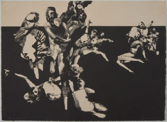 """""""Geography of Hell,"""" a 1968 lithograph by Jacob Landau, is part of Monmouth University's permanent collection."""