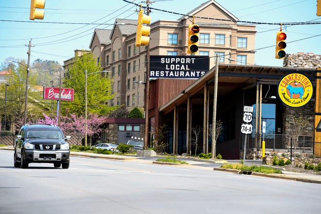 Fewer people traveled on Tunnel Road April 15, 2020 as Asheville continues to be shut down due to the coronavirus.