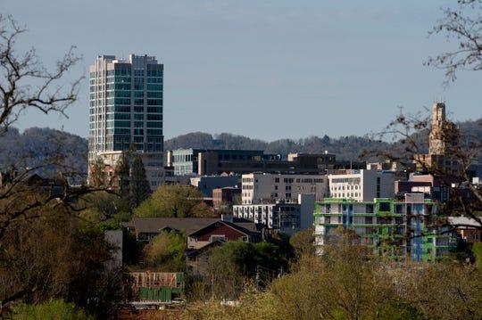A view of downtown Asheville April 9, 2020.