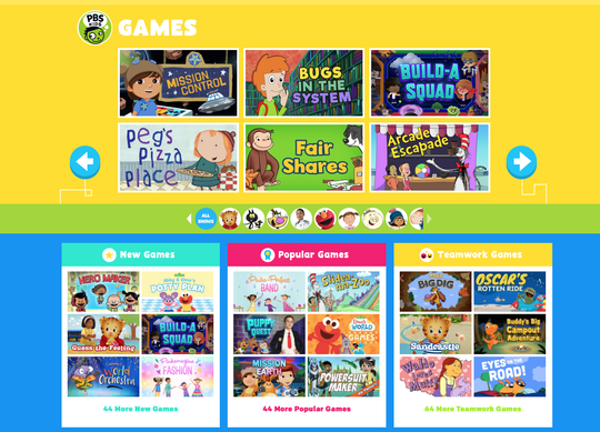 A screenshot from the PBS Kids website of the online games that are available.