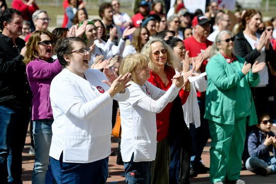 Mission nurses and supporters rallied to form a union at Pack Square Park in downtown Asheville Sunday, March 8, 2020.