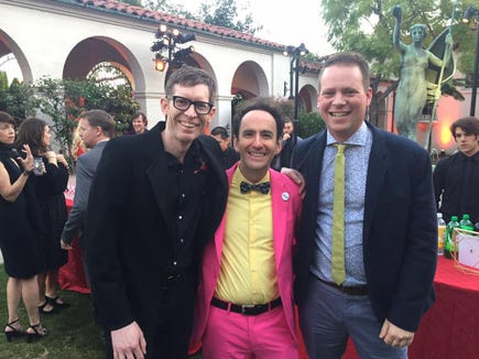 Korum Bischoff (right), with Recess Monkey bandmates Drew Holloway (left) and Jack Forman during a 2017 Grammy Awards function.