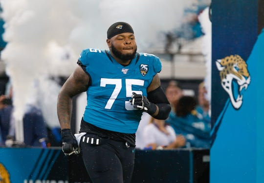 Jacksonville Jaguars offensive tackle Jawaan Taylor is introduced during pregame Sept. 19, 2019, against the Tennessee Titans at TIAA Bank Field in Jacksonville.