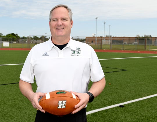 King High School's new football coach Doug Foster poses for a portrait, Wednesday, April 15, 2020, at King High School. Foster discusses coming into a program during the pandemic.