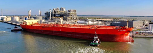 The Pacific Dawn, a cargo tanker, arrived at the Port of Corpus Christi to be loaded at a recently-built oil dock.