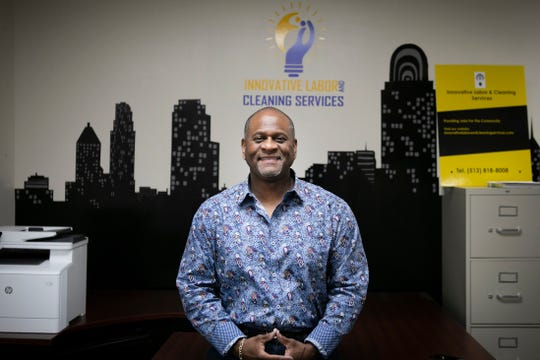 Troy Parker, president of Innovative Labor and Cleaning Services, Inc., photographed inside of his company's St. Bernard office on April 15.