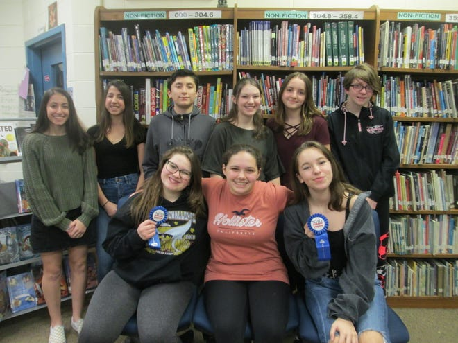 Pictured are the state qualifiers (front row, left to right) Pasqualina D'Andrea, Sidonie Lyons and Sarah Begosh; (back row, left to right) Alexa Barkman, Cassandra Avallone, Jacob Weiss, Emily Thall, Kamila Konopacki and Nina Weiland.
