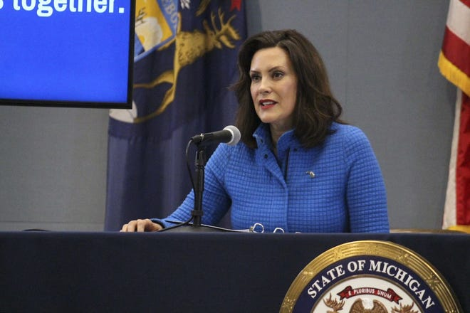 Governor Gretchen Whitmer gives an update on COVID-19 during a press conference on April 15, 2020.