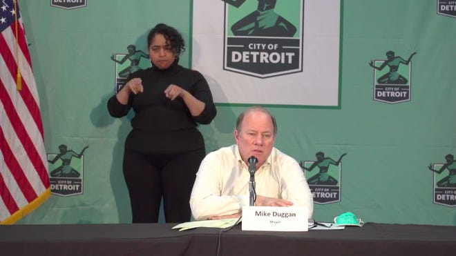 Detroit Mayor Mike Duggan speaks about the coronavirus pandemic Wednesday, April 15, 2020, at a press conference at Eastern Market.