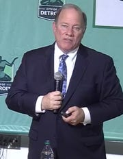 Detroit Mayor Mike Duggan during a live news conference on Tuesday, April 14, 2020.