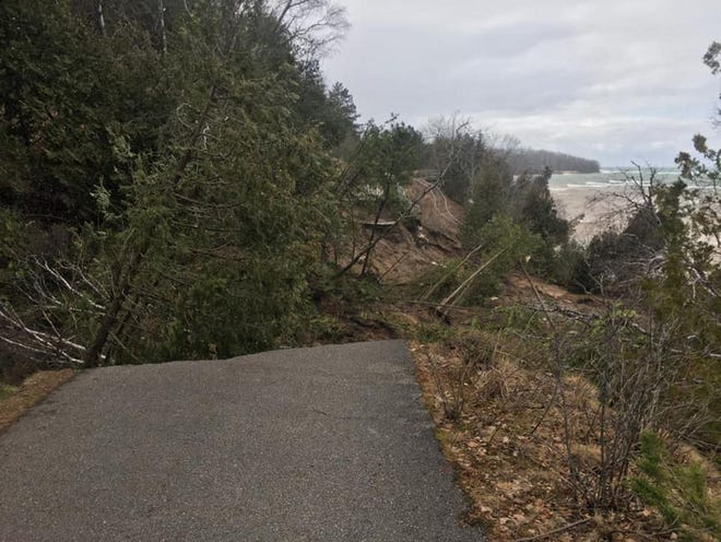 Erosion damage in mid-April along a stretch of the Little Traverse Wheelway west of Petoskey's Magnus Park.