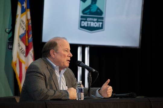 Detroit Mayor Mike Duggan gives a press conference in shed 5 at Eastern Market Tuesday, April 7, 2020 to update the citizens of Metro Detroit on the state of the impact of Covid-19.