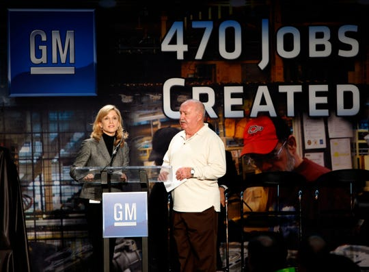 General Motors North America Vice President Labor Relations Denise Johnson, left, and United Auto Workers Vice President Cal Rapson announce GM will invest more than $494 million and create nearly over 470 jobs in three U.S. plants to produce the new Ecotec engines at the GM Tonawanda Engine Plant near Buffalo, New York in this February 18, 2010, file photo.