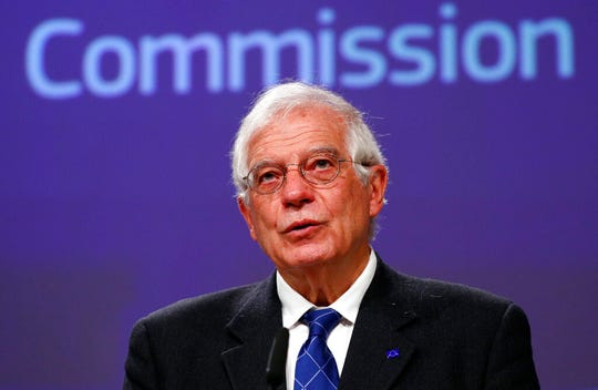 European High Representative for Foreign Affairs and Security Policy and Vice-President of the European Commission Josep Borrell, holds a virtual news conference in this March 31, 2020, file photo.