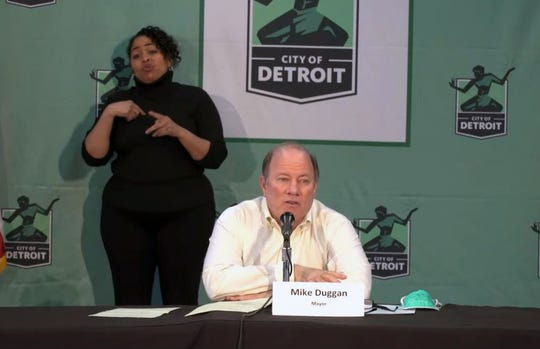 Mayor Mike Duggan holds a press conference on April 15, 2020.