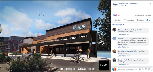 The owners of The Landing, a restaurant planned in the former Edgewater Grille location in Newburgh, debuted a rendering of the renovated eatery on social media Wednesday, April 15.