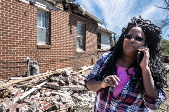 Stephanie Scott, 50, at her Seneca, SC home on South Oak Street Wednesday, April 15, 2020, which an insurance adjuster deemed a total loss after an EF3 tornado with 160 mph winds touched down in the early morning hours of Monday, April 13th. Scott lives at her home with her mother Marguerite Reaves, 69 and her dog.