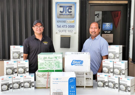 JTC representatives Kaelon Quichocho and VIcePresdient/General manager Tom Camacho display the donations for Guam Homeland Security.