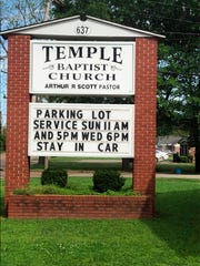 This image provided by Alliance Defending Freedom shows the sign for parking lot church services outside of Temple Baptist Church in Greenville, Miss., on April 9, 2020.