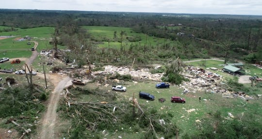Homes lie blown apart Monday, April 13, 2020,  along Seminary Williamsburg Road in Seminary, Miss. after tornadoes ripped though Mississippi Easter Sunday April 12, 2020, killing at least 11 people.