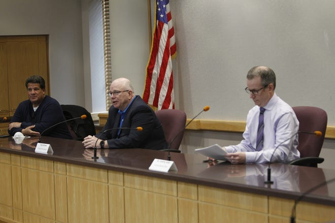 Lafayette Mayor Tony Roswarski, Tippecanoe County Commissioner Tracy Brown and Tippecanoe County Health Officer Dr. Jeremy Adler brief the media and the community Wednesday, April 15, 2020, about the status of t he COVID-19 emergency.
