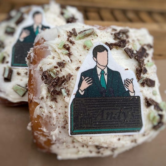 "This week's Gov. Andy Beshear-themed doughnut was an ""Andy's Mint"" mint chocolate cream filled doughnut topped with crushed candies."