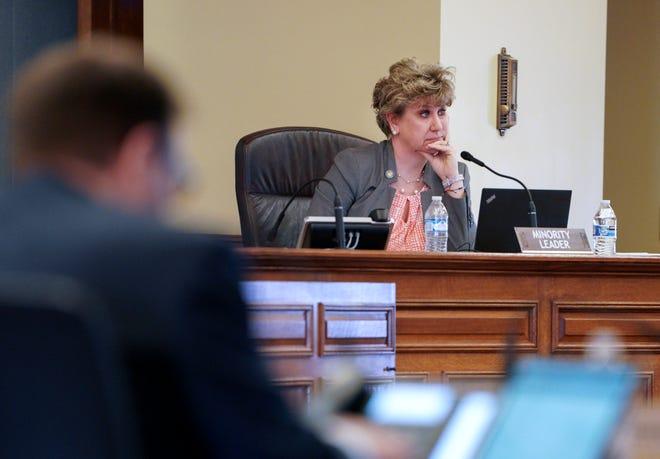 Minority Leader Jennifer Shilling, D-La Crosse, listens during the state Senate virtual session Wednesday, April 15, 2020.
