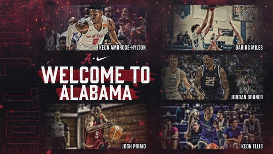 Graphic created by Alabama's athletic department to commemorate its five-member 2020 men's basketball signing class, which was finalized April 15, 2020.