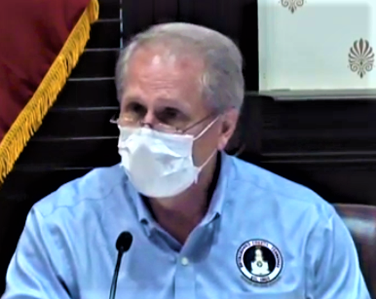 Rutherford County Mayor Bill Ketron speaks April 9, 2020, during a Budget, Finance & Investment Committee meeting while wearing a mask to prevent the spread of coronavirus.