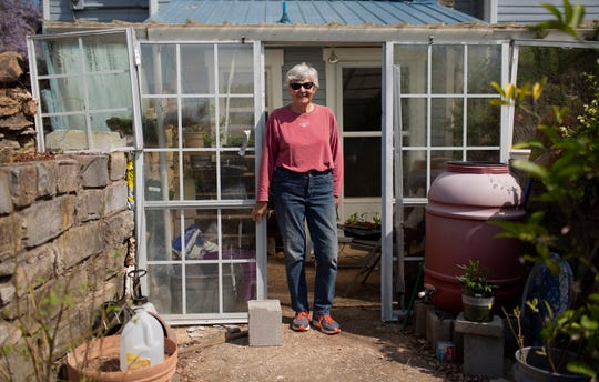 Deanna Naddy, the owner of Highland Realm, a blueberry farm in Hampshire, Tenn., stands in her greenhouse on Monday, April 6, 2020.